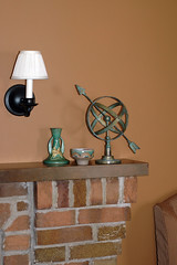fireplace mantel-summer decorating (kizilod2) Tags: summer green fireplace aqua lily turquoise verdigris bowl decorating zephyr mantle candlestick mantel roseville armillarysphere