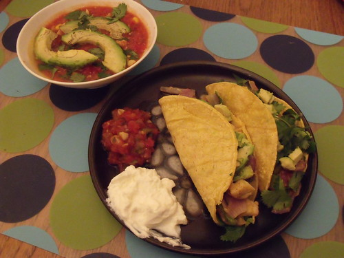 fajita tacos and tortilla soup