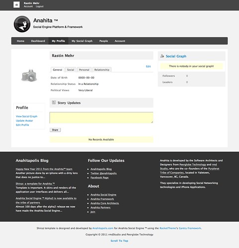 Anahita™ Social Engine 1.5 Birth release codename Ambrosia