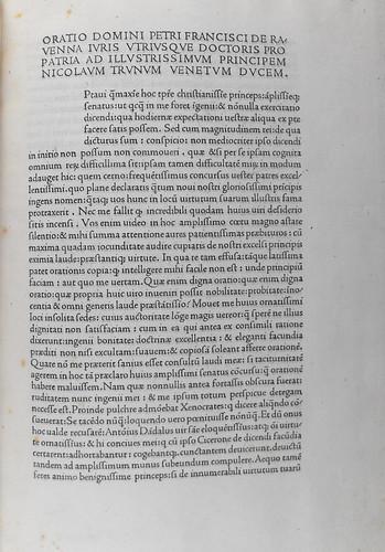 Beginning of Petrus Franciscus Ravennas: Oratio pro patria ad illustrissimum principem Nicolaum Tronum