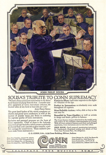 Vintage Ad # 1,366: John Philip Sousa Cultivates His Musical Bump With Conn