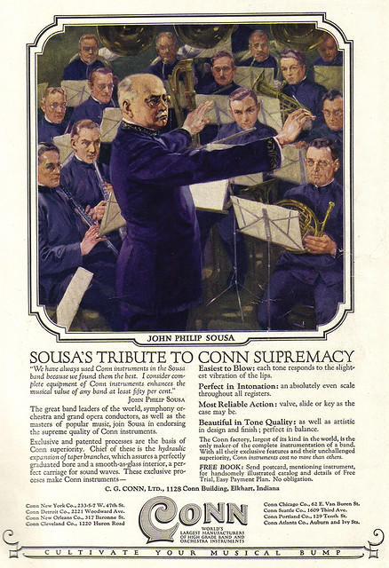 Vintage Ad #1,366: John Philip Sousa Cultivates His Musical Bump With Conn