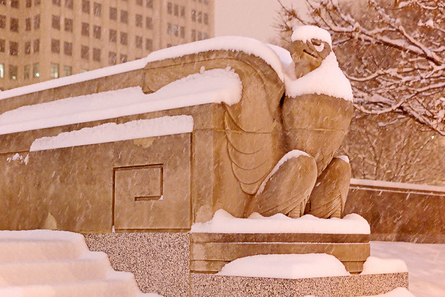 Soldiers Memorial, in downtown Saint Louis, Missouri, USA - eagle, at night in the snow