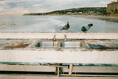 """""""Sinks and pigeons and San Diego."""" (kittybow) Tags: sea film birds analog 35mm pier sink sandiego pigeons shoreline taps pointandshoot disposablecamera pacificbeach"""