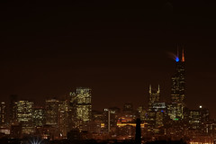 Blue & Orange.  Go Bears. (vicambulist) Tags: panorama chicago skyline night dark chicagobears chicagopanorama