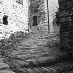 Worn-Out Stairs (sandrovonah) Tags: homedeveloped 6x6 mediumformat 120film ilford film analog blackwhite bw ticino switzerland hasselblad ilfordfp4 ilfordfp4125 hasselblad500 hasselblad500c hassi monochrome mountains village filmfilmforever