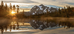 Sunrise at Picture Lake (Heather Meadows, Mt Baker NF, WA) (Sveta Imnadze) Tags: nature landscape sunrise sunburst mtshaksan northecascades wa pacificnorthwest picturelake reflection wow