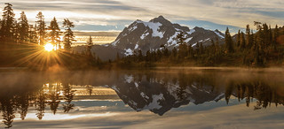 Sunrise at Picture Lake (Heather Meadows, Mt Baker NF, WA)