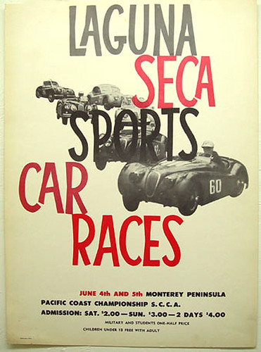 013-Laguna Seca Sport Car Races 1950's-© 2010 Vintage Auto Posters. All Rights Reserved