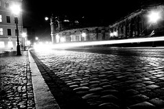 Streak of light.. can i follow thee? (Vichar Photography) Tags: street leica travel light urban blackandwhite texture film night 35mm germany dresden europe pavement stones grain 35mmfilm midnight analogue lightstreak iphotooriginal