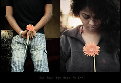 Say What You Need To Say! ( C H A I T U) Tags: sunset orange sun india flower love girl canon silver photography eos rebel 50mm lights eyes diptych dof bokeh terrace dusk d watch shy ring casio surprise flare looks theme shorts concept hyderabad levis say gerberas fotography manas dilema 500d noun chaitu nuon patnaik manaswini krishlikesit saywhatyouneedtosay conceptiual chaituadavi