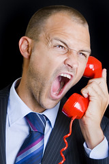 Emergency (Alex Bramwell) Tags: red man call phone business whitebackground angry conceptual emergency isolated shouting
