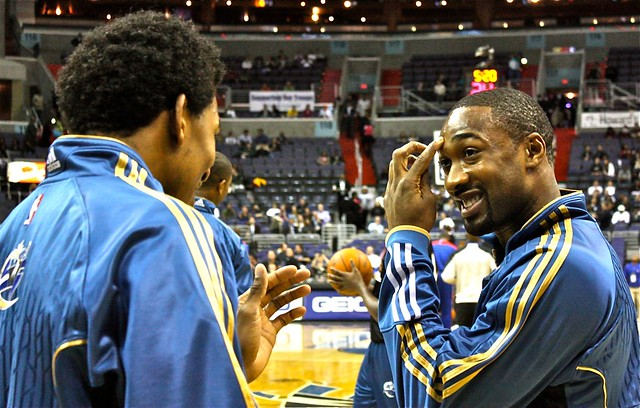 gilbert arenas, nick young, washington wizards, pregame warmups