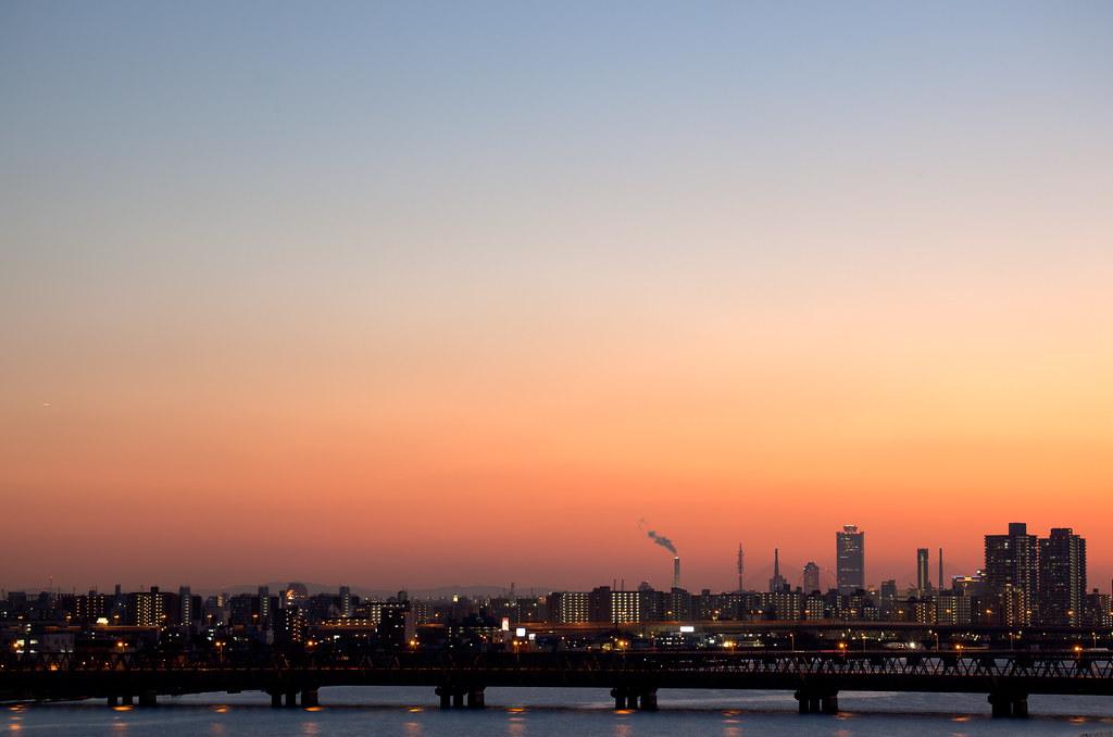 Osaka at sunset in december