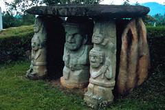 San Agustn  Tomb Idols (Scott Holcomb) Tags: archaeology 35mm colombia transparency sanagustn yashicaelectro35cc photoshoprestoration hpscanjetg4050 coloryashinondx118f35mmlens