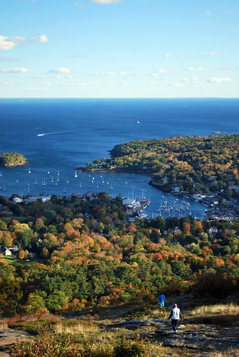 Climbing Down Mount Battie