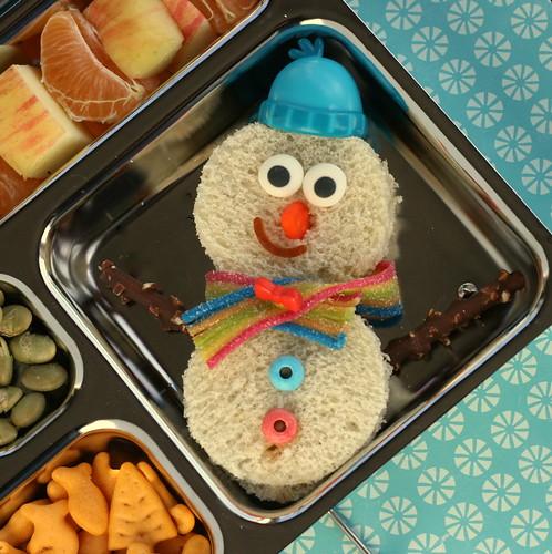 PlanetBox Snowman Sandwich
