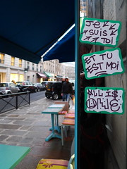 All is One (Gabri Le Cabri) Tags: street blue people paris reflection green mirror cafe sticker 75008 allisone paris8 youareme iamyou 5t1k