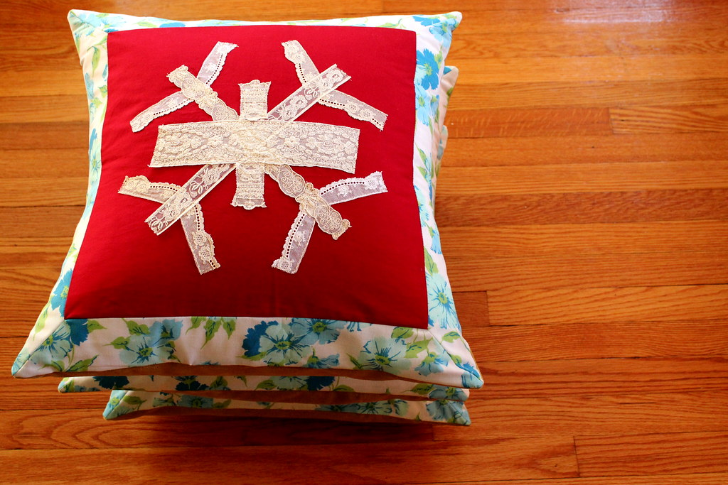 lace snowflake pillows stack