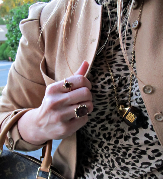 vintage camel jacket+70's jewelry+leopard print t shirt+louis vuiton bag