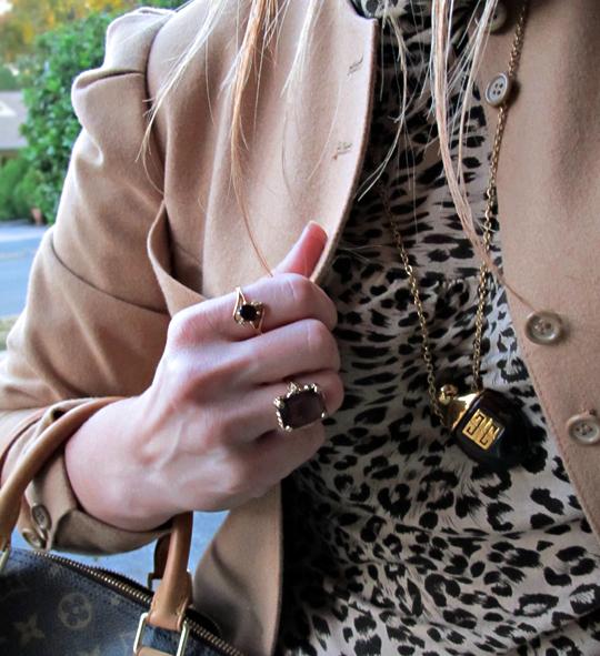 vintage camel jacket+70's jewelry+leopard print t shirt+louis vuiton bag
