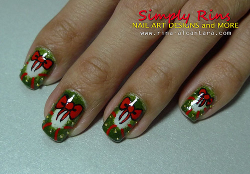 Christmas Nail Art Wreath 08