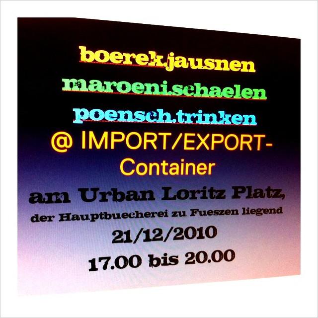 IMPORT/EXPORT: Börek, Maroni, Punsch