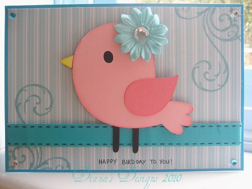 Pink and Blue Bird-day Card