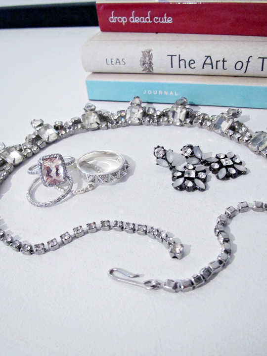 vintage rhinestone necklace+wedding and engagement rings+studded pave ring+stacking rings+the art of thank you book