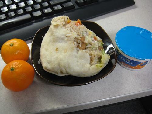 clementines, veggie burrito, Oikos caramel