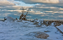 Lake Effect (BoyPhoto) Tags: winter snow cold ice clouds canon outdoors frozen sand wind lakemichigan lakeshore lakefront wilmetteil canoneos40d canon40d gillsonparkwilmettebeaches
