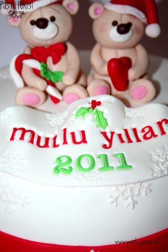 ayılı yılbaşı pastası