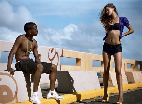 Rosie Huntington with black man