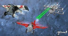WW1 meets Space (pasukaru76) Tags: lego space ww1 dogfight collaboration moc starfighter monoplane shannonocean ww1space theoneman