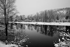 Winterscape (Steve_B's) Tags: trees blackandwhite snow reflections hills blackdiamond coeurdaleneriver calmriver mygearandmepremium mygearandmebronze mygearandmesilver mygearandmegold
