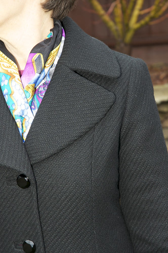 Coat lapel outside close up