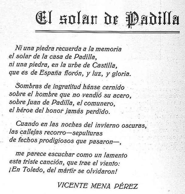 Soneto de Vicente Mena Pérez lamentando la ausencia de un monumento a Juan de Padilla en Toledo. Revista Toledo, marzo de 1930