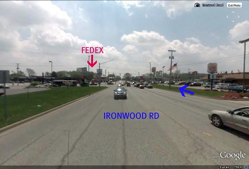 approaching the intersection where FedEx/Kinko's sits (via Google Earth)
