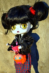 """""""are you kidding? i'm not taking a picture with this weird little thing!"""" (cybermelli) Tags: black leather hair scary san doll comic diego creepy jacket wig groove plaid limited comiccon comicon exclusive con lilith sdcc byul lalaloopsy"""
