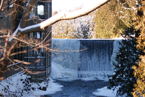 the beautiful waterfall at the millcroft inn