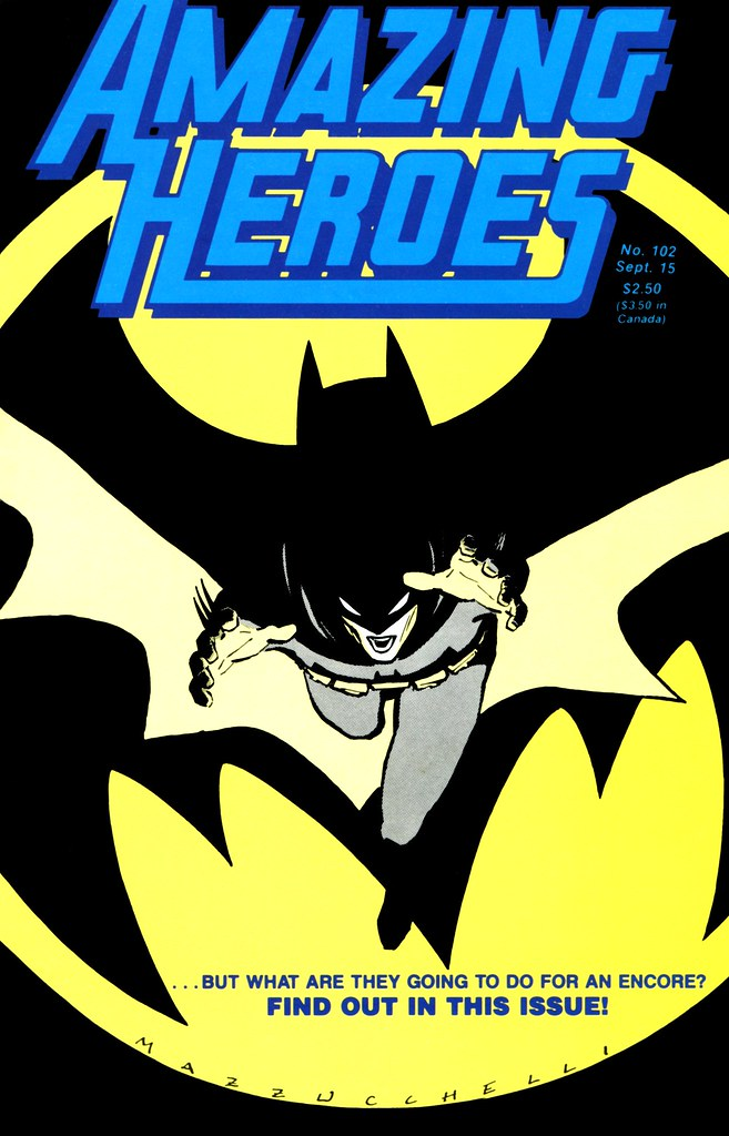 Amazing Heroes 102 cover by David Mazzucchelli for Batman Year One, 1986