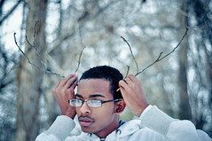 (tyreke.white) Tags: blue trees white reflection green yellow glasses hands nikon bokeh branches gray jacket twigs d5000