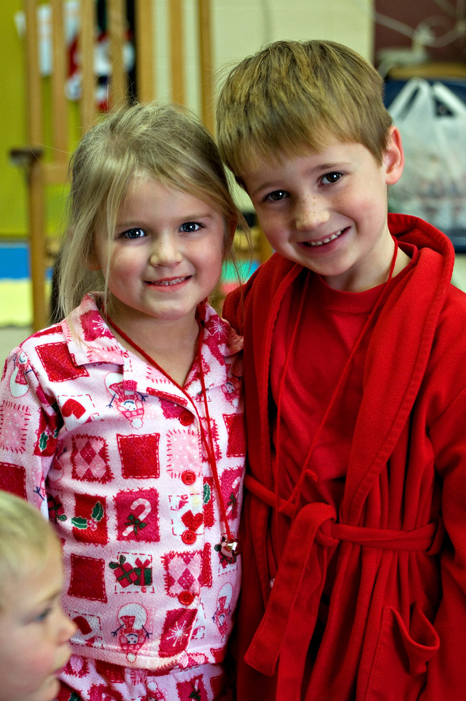 Sam and Caroline at the Polar Express Day