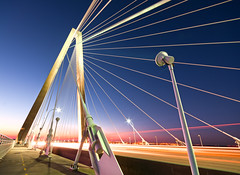 Cooper River Walk (Sky Noir) Tags: new bridge blue light sky sc lines modern night river harbor long exposure noir walk south angles mount charleston trail hour cooper carolina innovation pleasant arthurravenel skynoir bybilldickinsonskynoircom yahoo:yourpictures=angles