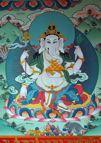 Ganesha - Ganpati, Remover of Obstacles, holding a gold bowl of oranges, impliments, vajra weapon, vegetable, fruits, mala, mouse, wish fulfilling jewels, Tibetan Buddhist, Gelugpa Monastery, Pharping, Nepal by Wonderlane