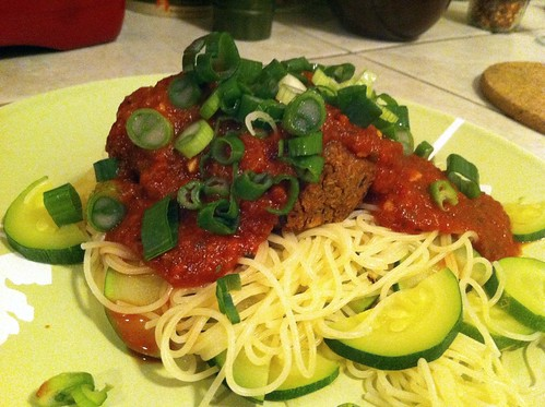 Cajun Beanballs Over Angel Hair Pasta
