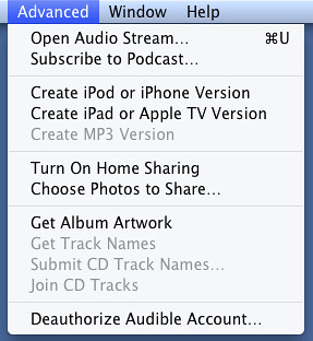 iTunes  advanced menu