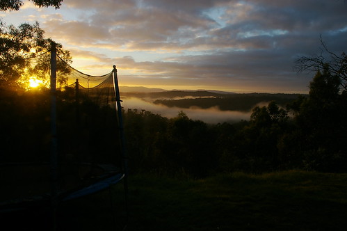 sunrise with trampoline