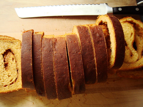 Double Sweet Potato Caramel Swirl Bread: Sliced