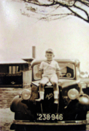 Jack Joel on Sister Weber's Car at Original Altona Hospital 1935